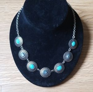 Boho Turquoise and silver sunflower necklace